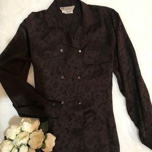 Gucci 100% Silk Brown Lace Pattern Blouse
